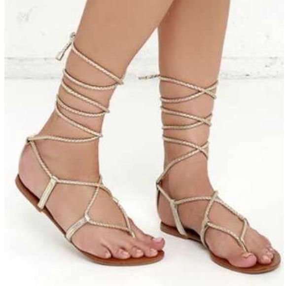 """339d7706349 Steve Madden gold """"werk it"""" wrap sandals"""